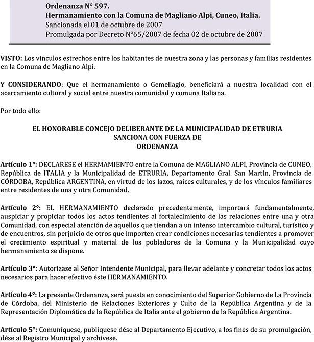 Ordenanza Nº 597. Hermanamiento con la Comuna de Magliano Alpi, Cuneo, Italia.