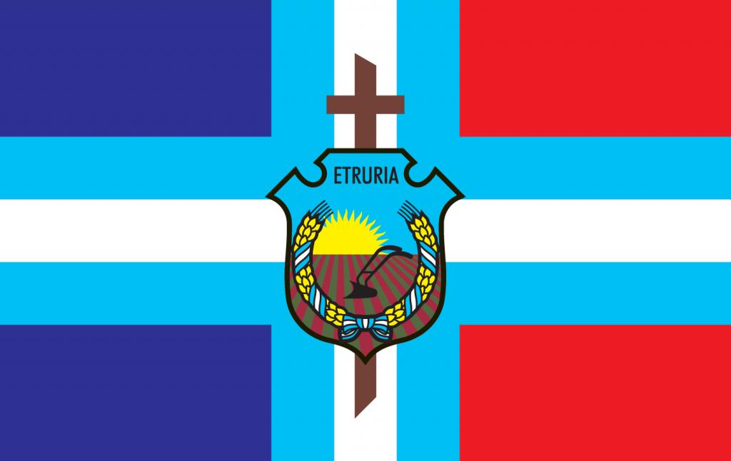 Bandera de Etruria creada en 1996 por Luisa Corletti.